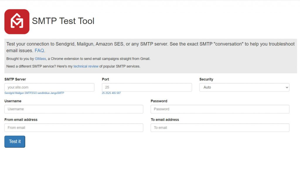 SMTP Test Tool